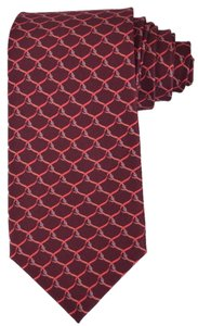 Gucci NEW Gucci Men's 349414 Bordeaux Red Belts Silk Twill Neck Tie