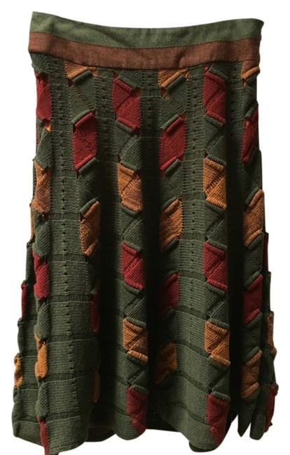 Item - Green/Red/Gold Bohemian Wool. Skirt Size 12 (L, 32, 33)