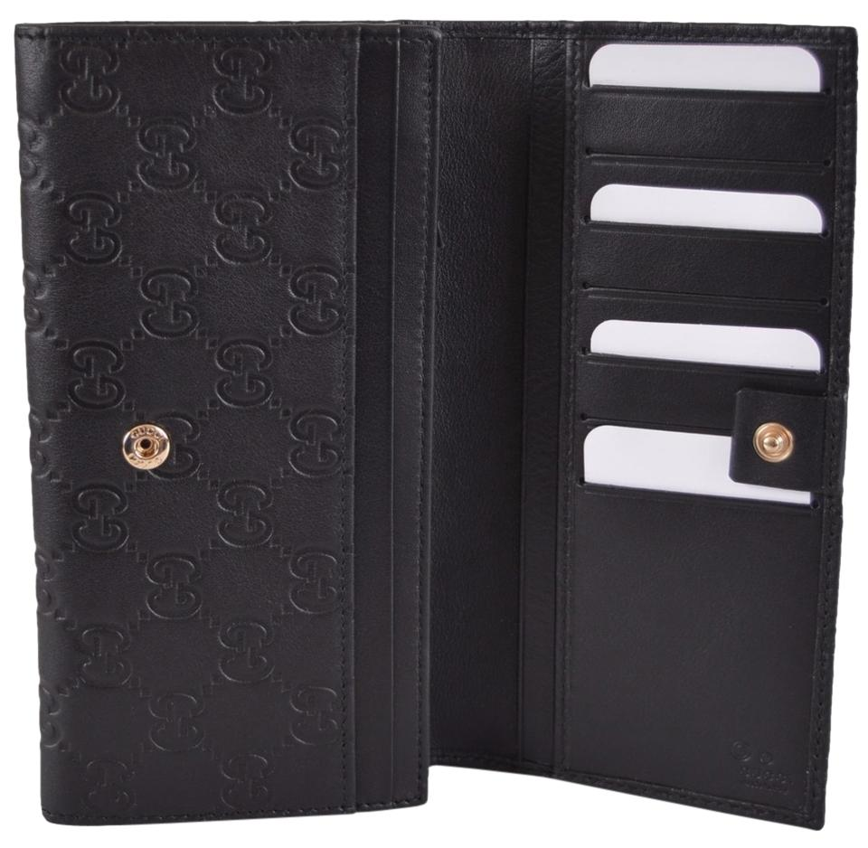0788d7aaa280 Gucci New Gucci Women's 346058 Black Leather GG Guccissima Continental  Bifold Wallet Image 0 ...