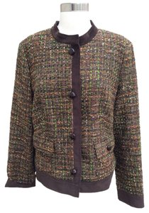 Talbots Fall Coat Tweed Brown Orange Green Jacket