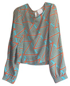 Coveted Clothing Top Orange and Teal