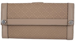 Gucci NEW Gucci 231839 Beige Leather Diamante Continental Charmy Wallet W/Coin Pocket