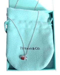 Tiffany & Co. 18k White Gold Lady Bug Diamond Necklace on 16 in. Chain