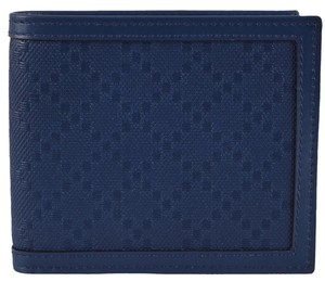 Gucci New Gucci Men's 225826 Blue Leather Diamante Bifold Wallet