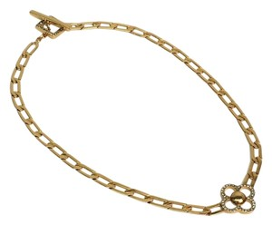 Louis Vuitton Louis Vuitton Gold Rhinestone Flower Chain Link Toggle Necklace in Box