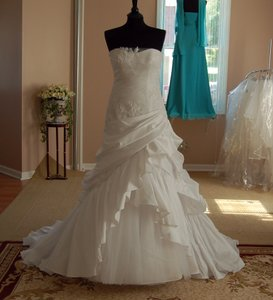 Enzoani Lace Appliques Taffeta Fitted A-line Wedding Dress