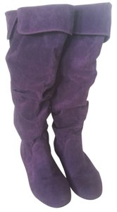 Qupid Suede Cuffed Tall Boot Purple Boots