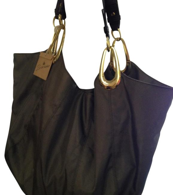 Item - Tote Khaki/Brown Handles Ripstop Nylon/Leather Hobo Bag