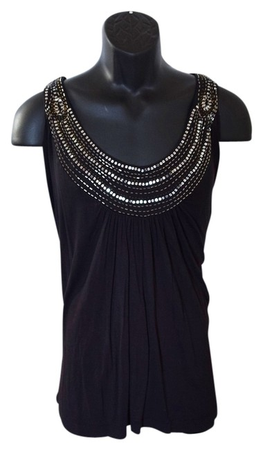 AVENUE STUDIO Cute Classy Catchy Blouse Stretchy Tunic Comfortable Top Black with gold and silver sequins
