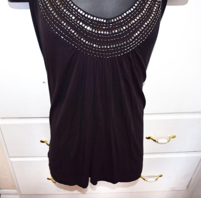 AVENUE STUDIO Cute Classy Catchy Fun Blouse Stretchy Tunic Comfortable Top Black with gold and silver sequins