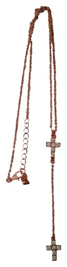Charming Charlie Necklace with cross, studded with rhinestones. Costume jewelry.