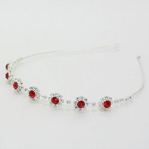 Bejeweled Red Rhinestone Crystal Headband Jewelry Party Accessory