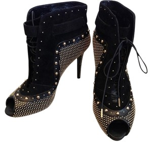 Alexander McQueen Manolo Black and Gold studs Boots
