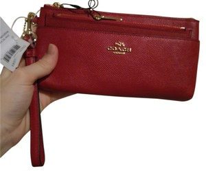 Coach Embossed Leather Zip Wristlet in Red
