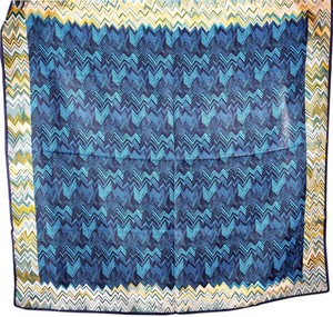 Missoni MISSONI made in Italy Silk Square Scarf Broken ZigZag Print Blue/Yellow Multi