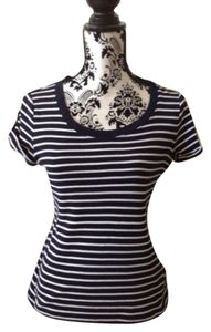 Ralph Lauren Striped T Shirt Navy Blue & White