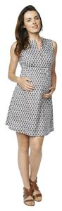 Maternal America Maternal America Women's Maternity Front Zip Dress, Blue Mosaic, Small