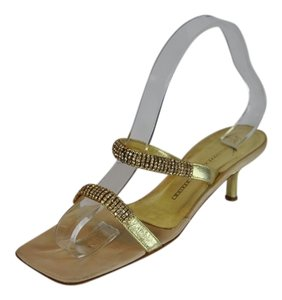 Giuseppe Zanotti Leather Rhinestone Vintage Gold Sandals