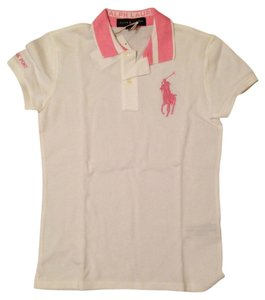 Ralph Lauren Pink Pony Polo T Shirt White