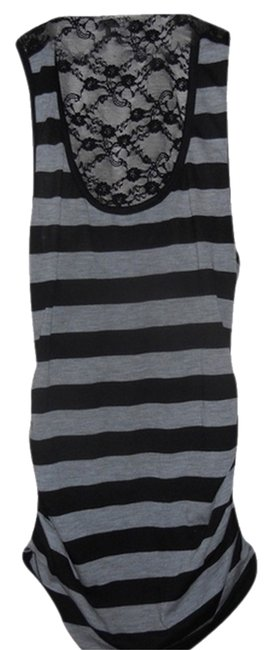 Project Jeans Striped Lace Racer-back Top Grey & Black