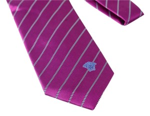 Versace * VERSACE Silk Neck Tie Purple Background With Black And White Stripes