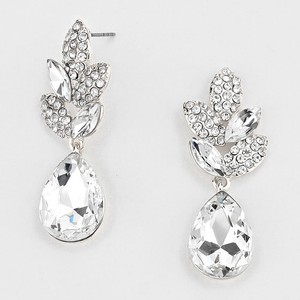 Elegant Rhinestone Crystal Teardrop Petal Earrings