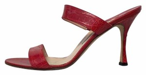 Manolo Blahnik Snakeskin Red Sandals