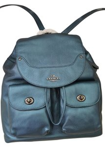 Coach Leather Rare Metallic Leather Backpack