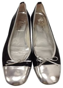 French Sole Patent Leather Ballerina Black and Silver Flats