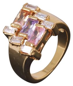 New 24K Yellow Gold Filled & Multi Color Topaz Stones Cocktail Ring Sz 6, 7, 8 Avail