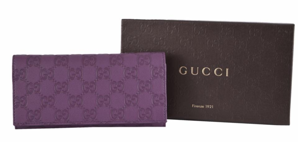 a5f310c3bbbf Gucci New Gucci 305282 GG Guccissima Violet Leather W/Coin Pocket Wallet  Clutch Image 7. 12345678