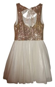 B. Darlin Dance Highschool Sequins Golden Goldensequins Shortdress Short Bowtie Bow Satinbow Sexy Pretty Middleschool Eggshell Dress