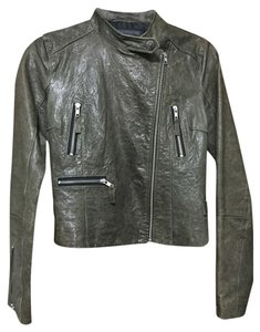 True Religion Leather Grey Leather Jacket