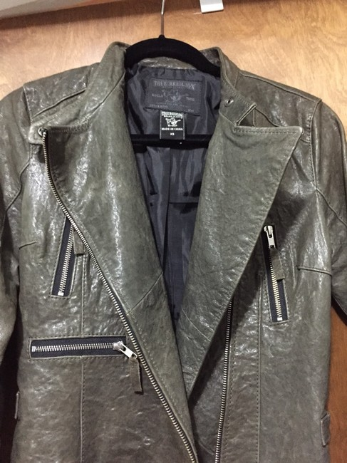 True Religion Leather Motorcycle Lambskin Grey Leather Jacket