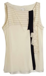Diane von Furstenberg Dvf Tag Silk Ruffled Professional Top Ivory and black