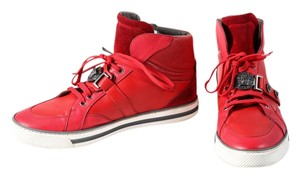 Versace Leather Hightops Mens Sneakers Red Athletic