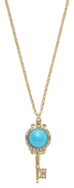 Kenneth Jay Lane Gold and Blue & Resin Key Pendant Necklace Kenneth Jay Lane Gold and Blue & Resin Key Pendant Necklace Image 1