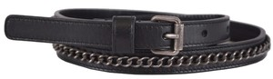 Saint Laurent New Saint Laurent YSL Women's 335761 Black Leather Chain Skinny Belt Large