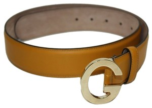 Gucci Gucci Soft Mustard Yellow Leather G Buckle Belt 362732 Size 32