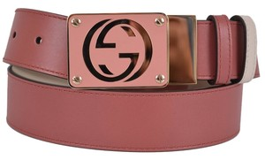 Gucci New Gucci Women's 334498 Pink and White Reversible Leather GG Buckle Belt 36 90