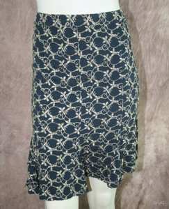 Ghost England Gold Floral Embroidered Paneled Flare Knit Skirt Black