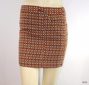 Anna Sui Target Gold Brown Woven Print Straight Pencil Mini Skirt Multi-Color
