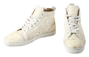 Christian Louboutin Snake Skin High Tops Mens Sneakers Ivory Athletic