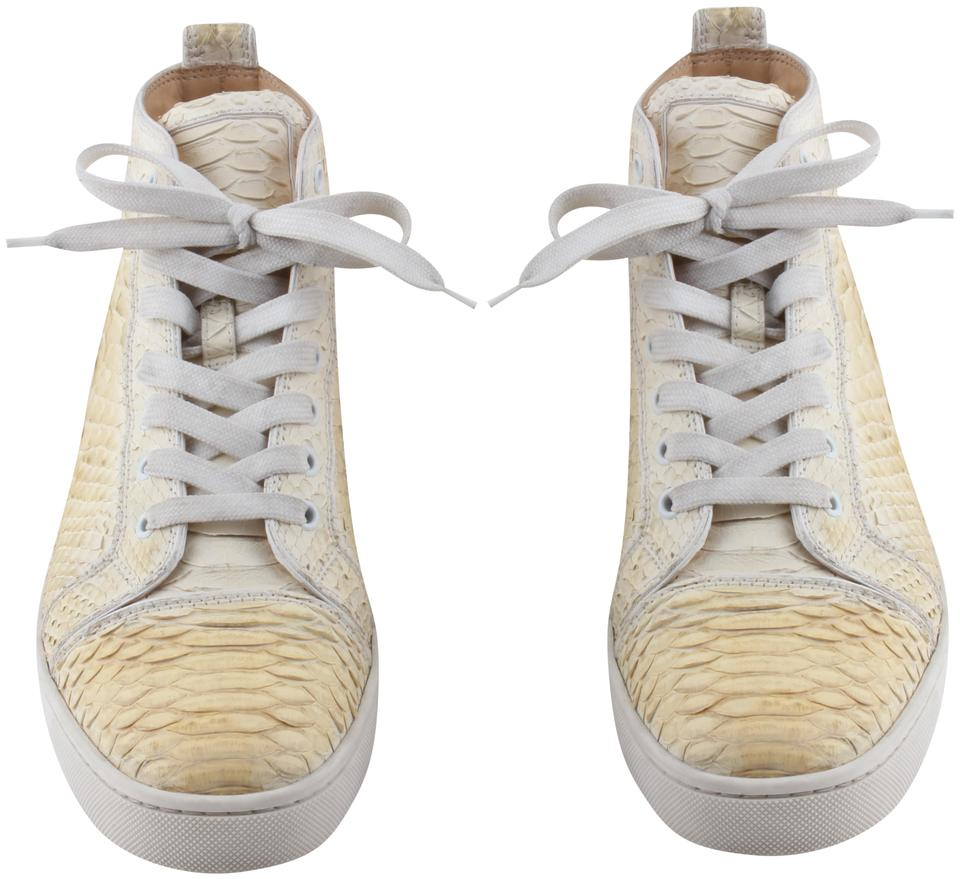 1118e2ef5ae6 Christian Louboutin Snake Skin High Tops Mens Sneakers Ivory Athletic Image  0 ...