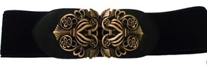 New Black Wide Belt With Antiqued Gold Center Metal P905