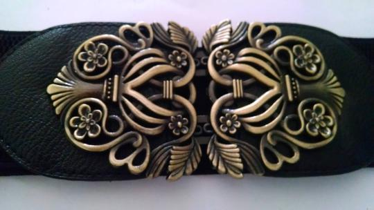 Other New Black Wide Belt With Antiqued Gold Center Metal P905