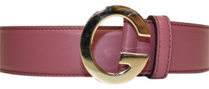 Gucci Gucci Soft Rose Pink Leather G Buckle Belt 362732 (32)