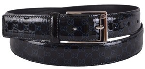 Gucci New Gucci Men's 345658 Rock Lux Patent Leather Micro GG Black Blue Belt 42 105