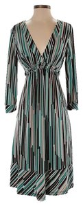 Teal/brown/baby blue/tan Maxi Dress by BCBGMAXAZRIA Print Wrap