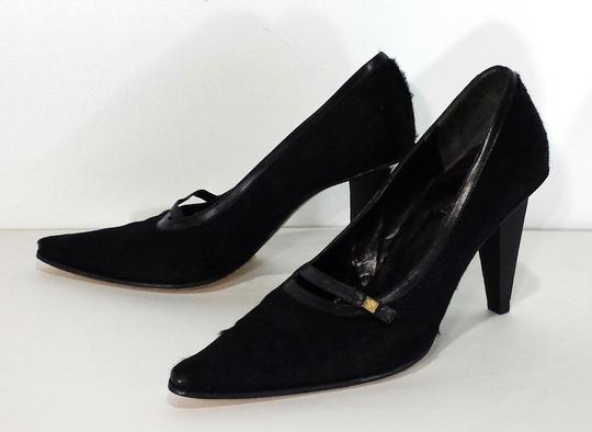 Versace Gianni Pony Hair Leather Black Pumps